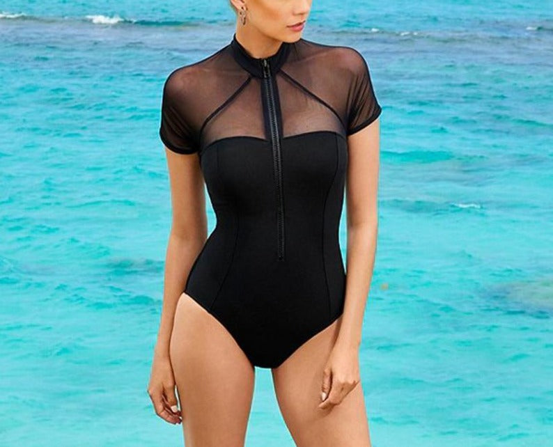 Mesh Zipper Short Sleeve Push Up Monokini - LEPITON