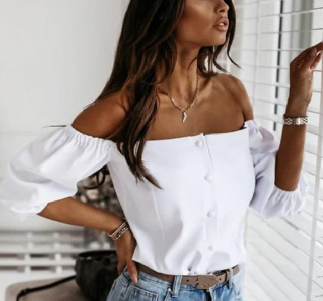 Elegant Off Shoulder Lantern Sleeve Button Down Blouse