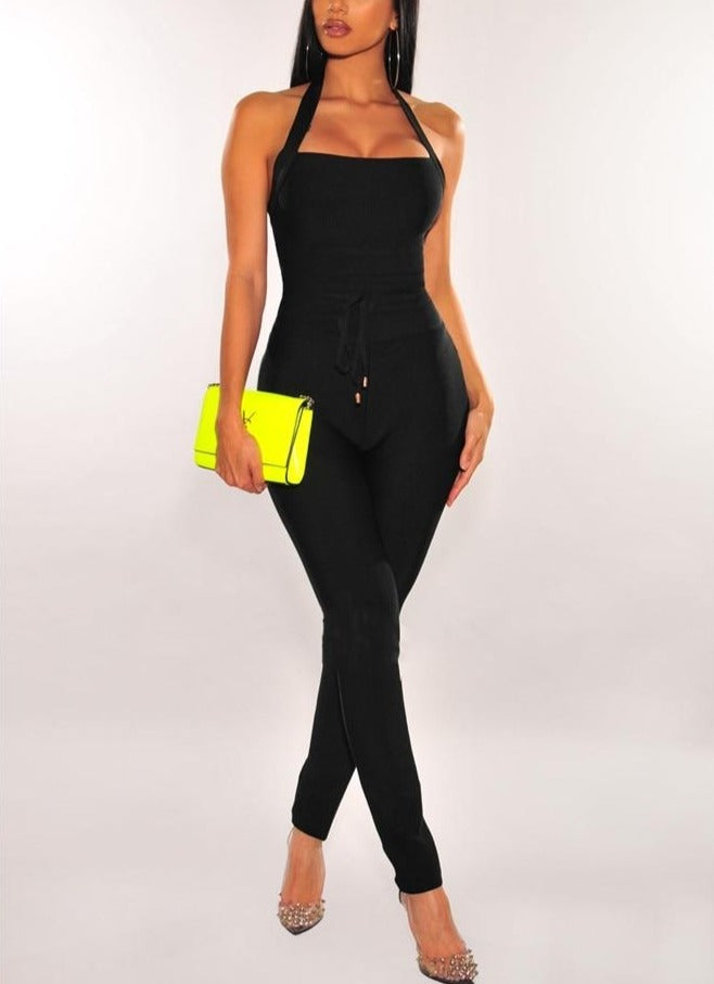 Quality Halter Rayon Bodycon Jumpsuit - LEPITON