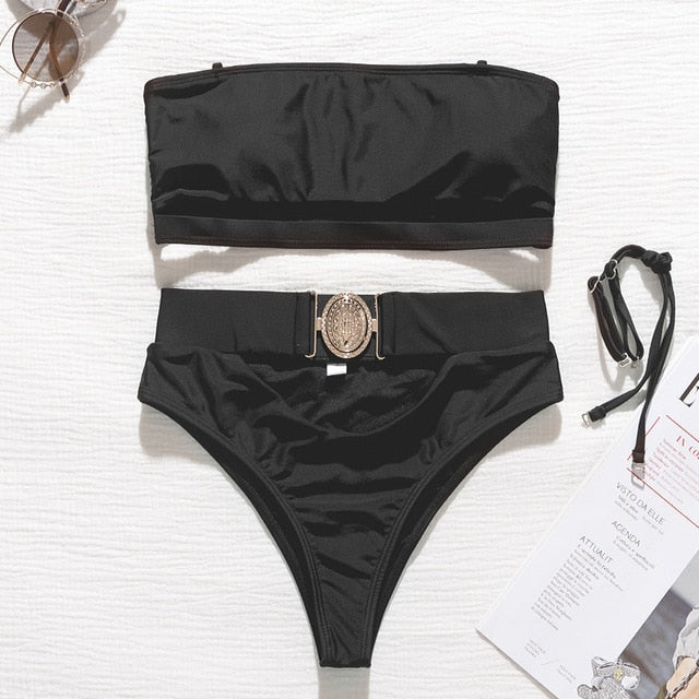 Hollow-Out High-Waist Metal Buckle Belt Swimsuit - LEPITON