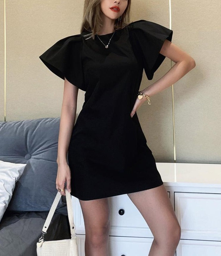 O-Neck Butterfly Sleeve Slim Temperament Dress - LEPITON