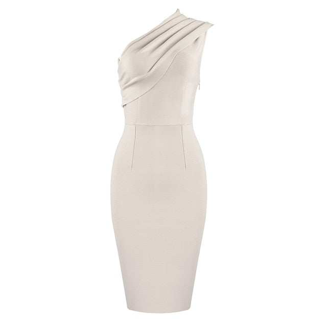 Elegant One Shoulder Nude Midi Bodycon Bandage Dress - LEPITON