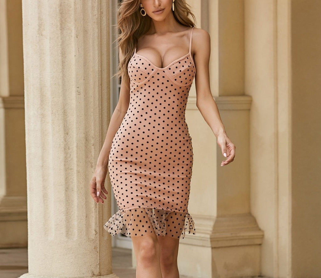 Spaghetti Strap Sleeveless Dot Nude Bodycon Trumpet Bandage Dress