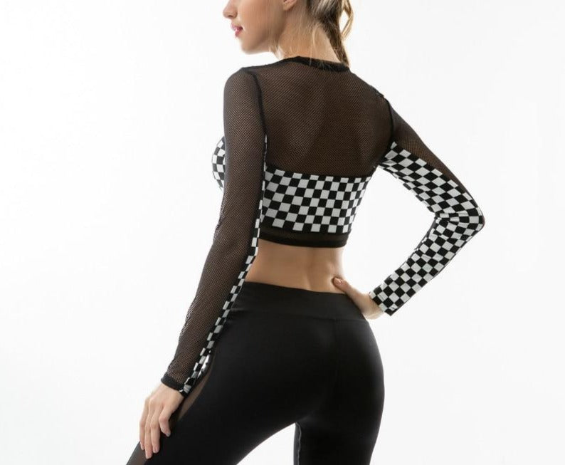 See-Through Checkerboard Plaid Patchwork Long Sleeve Crop Top