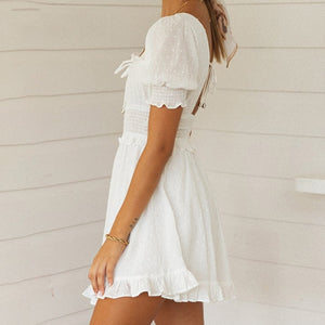 White Polka Dot Puff Sleeve Ruffle A-line Backless Short Dress