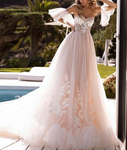 Sweetheart A-Line Court Train Bridal Dress with Detachable Sleeves - LEPITON