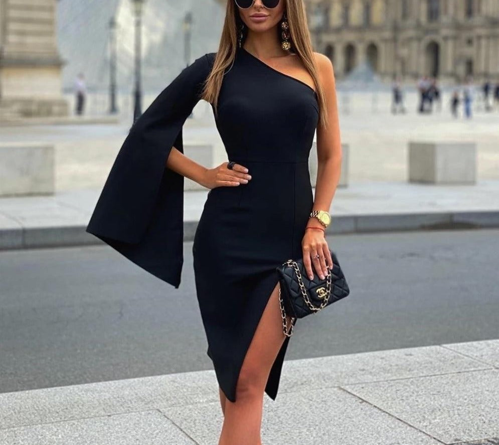 Thigh Slit One Shoulder Bandage Dress - LEPITON