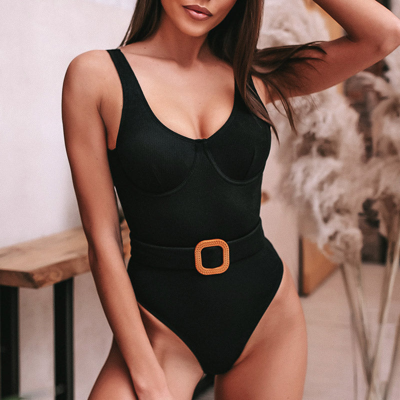 Push-Up One Piece High-Cut Belted Swimsuit - LEPITON