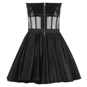 Strapless Mesh Mini Swing Dress - LEPITON