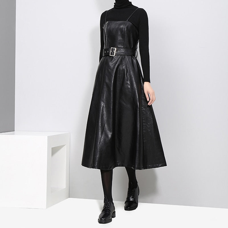 PU Leather High-Waist Loose Leather Dress - LEPITON
