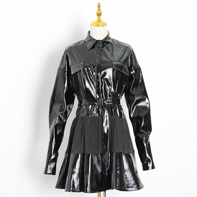Leather Long Sleeve High-Waist Sashes Tunic Dress - LEPITON