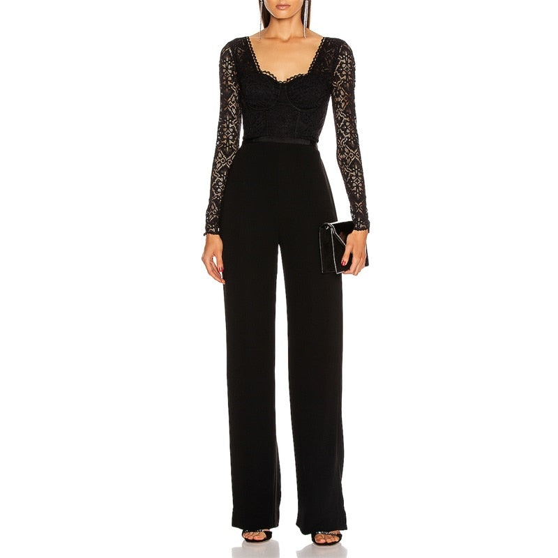 Bandage Long Sleeve Lace Patchwork Elegant Jumpsuit - LEPITON