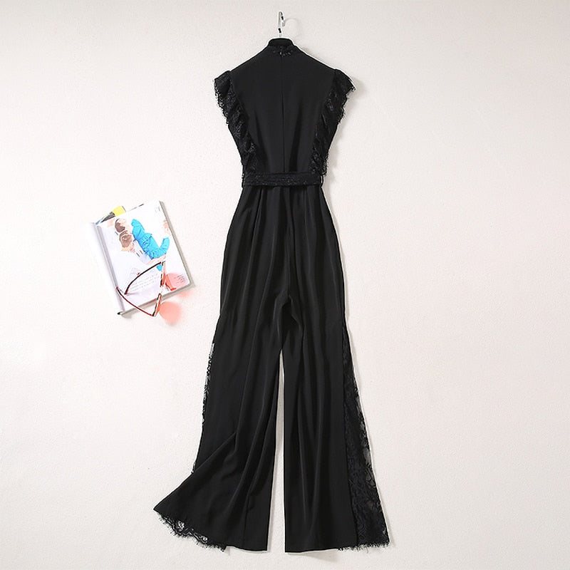 Sleeveless Lace Bow Ruffles Black Boot Cut Wide Leg Jumpsuit - LEPITON