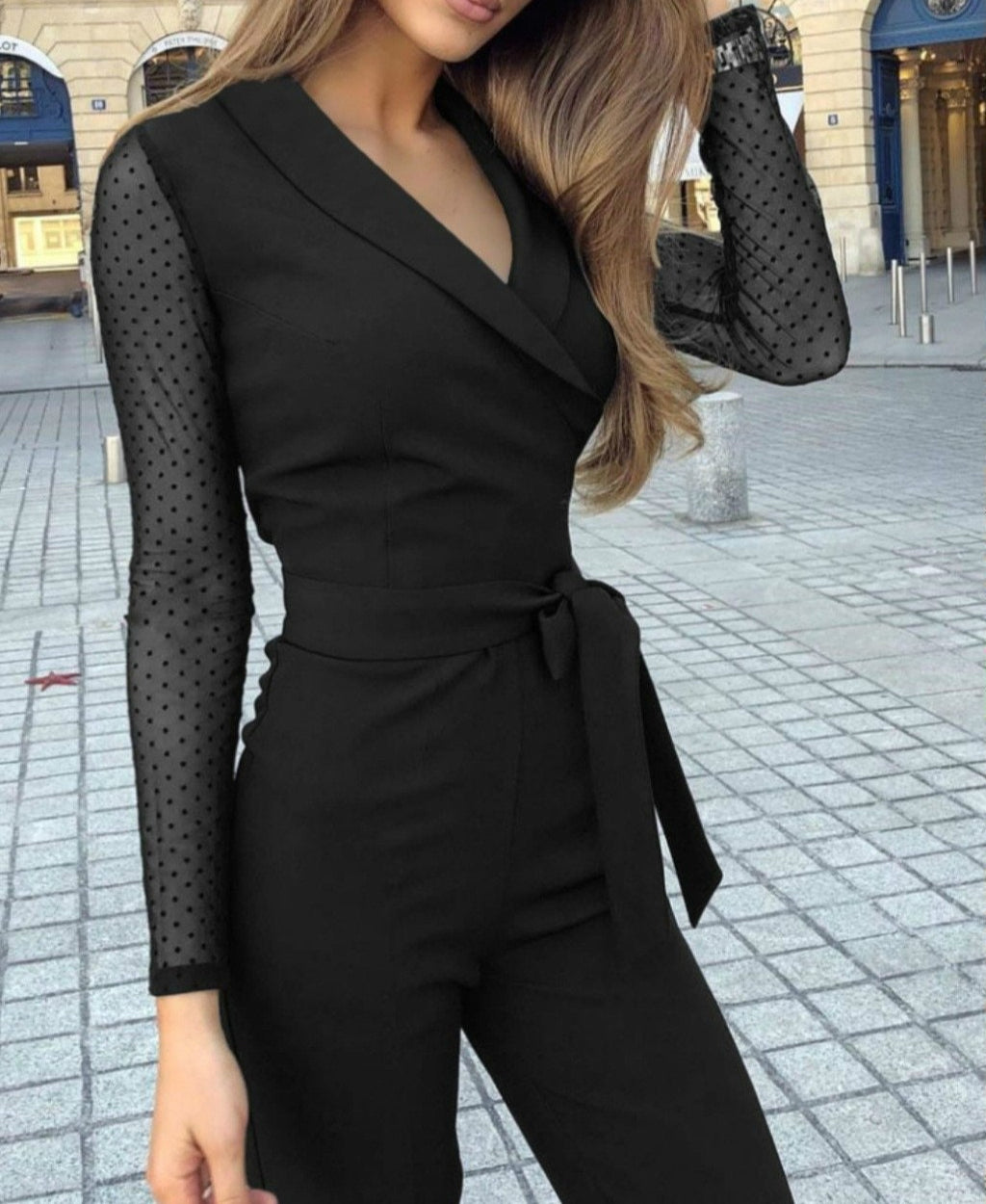 Lapel Slim Lace Long Sleeves V-neck Polka Dot Jumpsuit - LEPITON