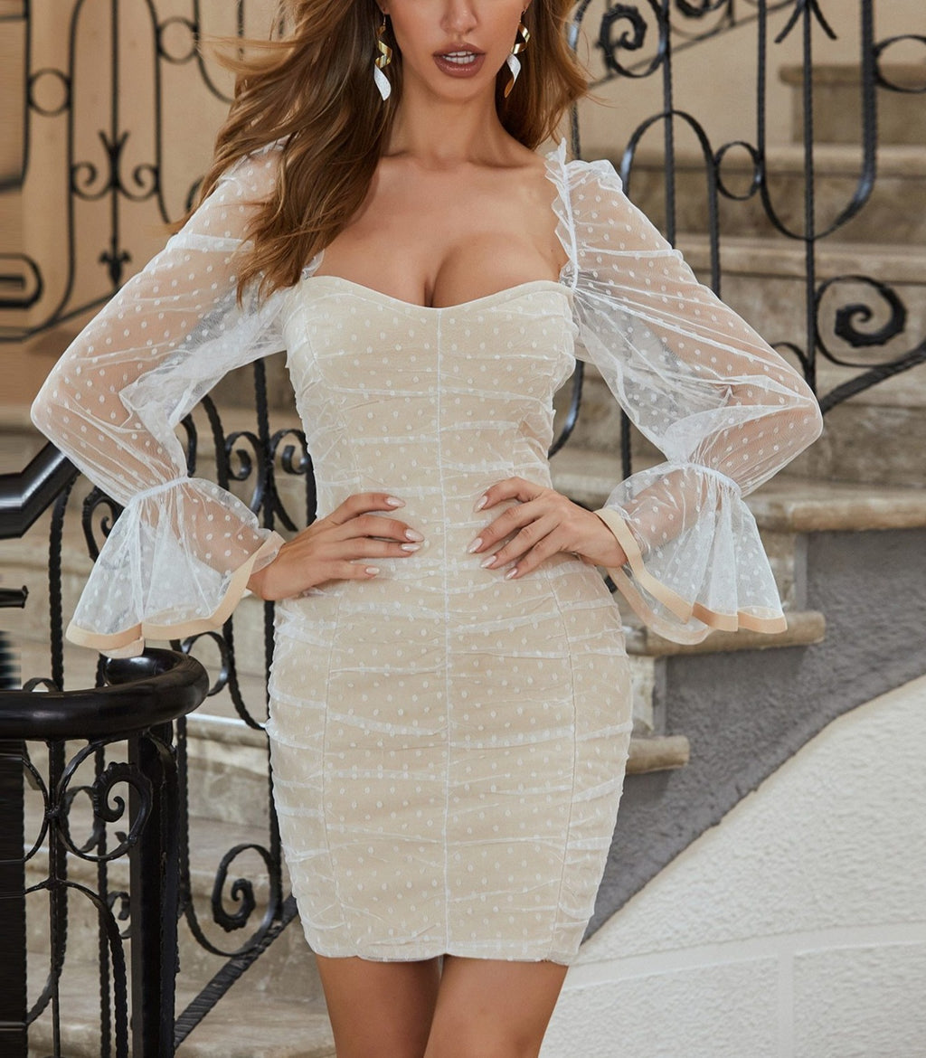 Long Sleeve Mesh Dot Bodycon Bandage Dress