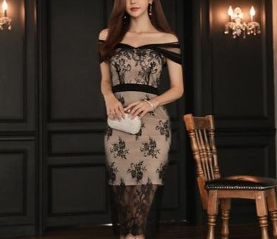 Elegant Lace Perspective Off-Shoulder Pencil Dress