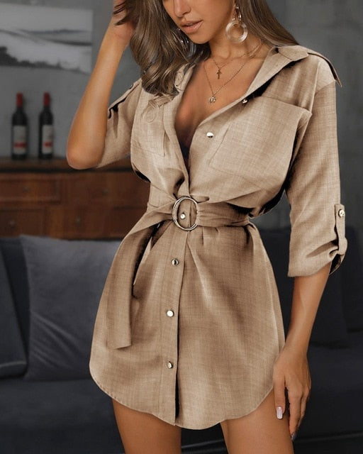 Elegant Turn-down Button Belted Linen Shirt Dress - LEPITON