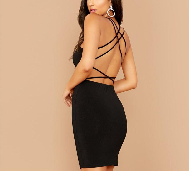 Criss-Cross Strappy Backless Bodycon Mini Dress - LEPITON