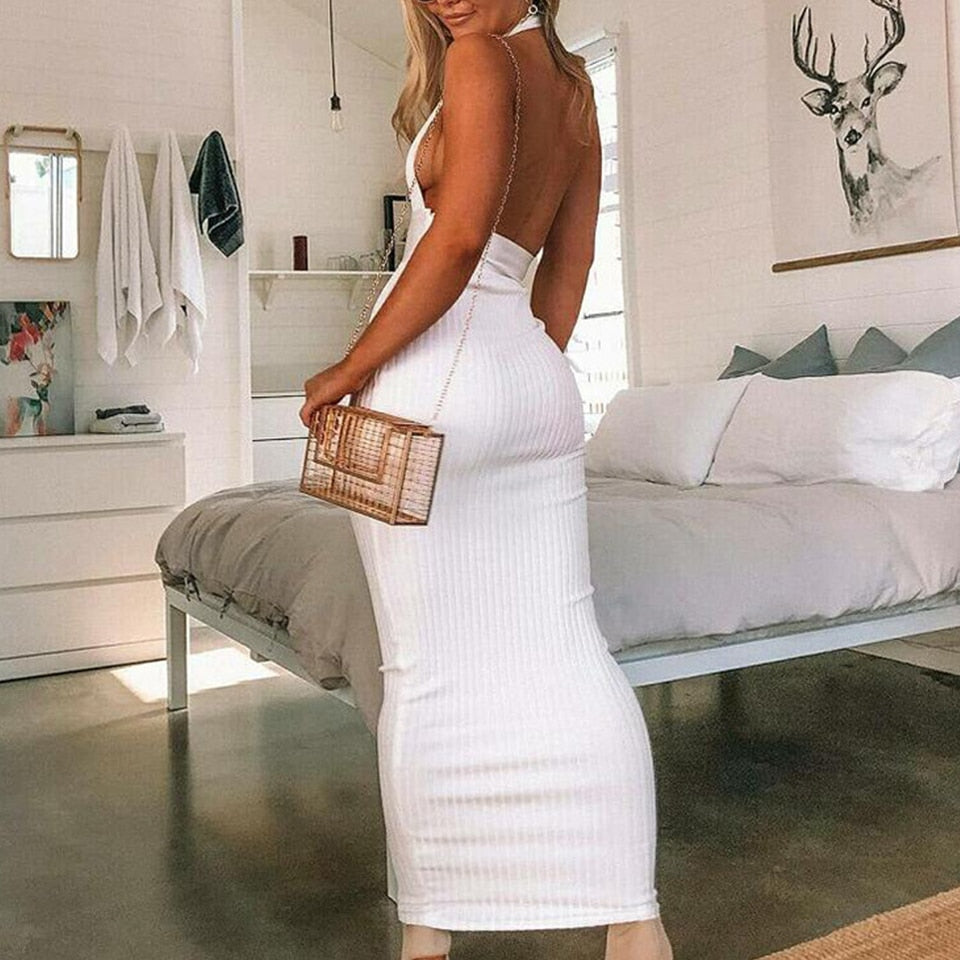 Backless Bodycon Maxi Dress - LEPITON