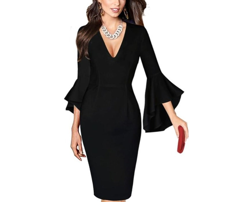 Deep V-Neck Flare Sleeve Bodycon Pencil Midi Dress - LEPITON
