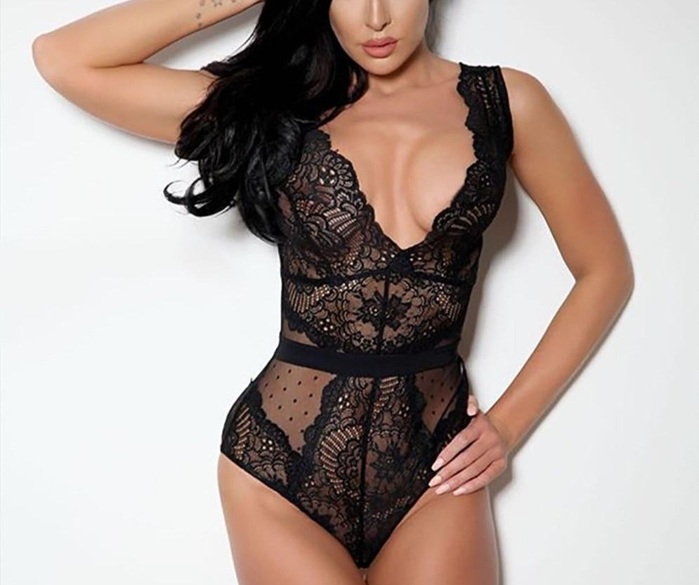 V-Neck Backless Lace Mesh Bodysuit - LEPITON