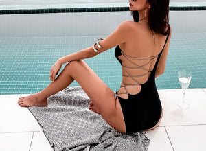 One Shoulder Cut-Out Bandage Swimsuit - LEPITON
