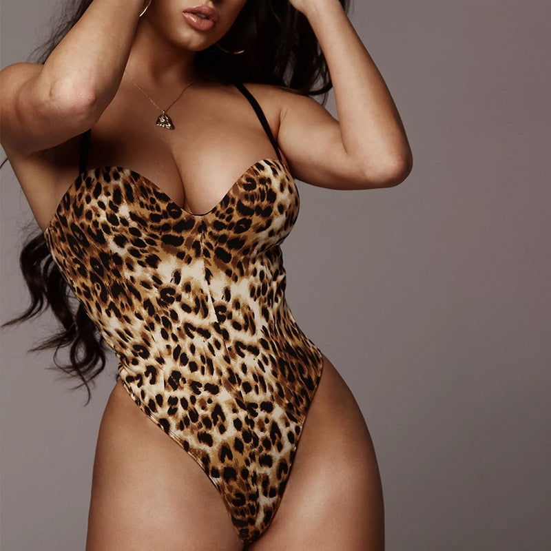 Spaghetti Straps Leopard Backless High-Cut Bodysuit - LEPITON