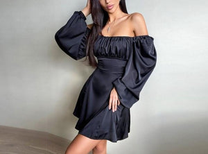 Long Puff Sleeve Pleated Bustier Satin Dress - LEPITON