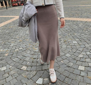 Straight Knitted Split High-Waist Long Skirt - LEPITON