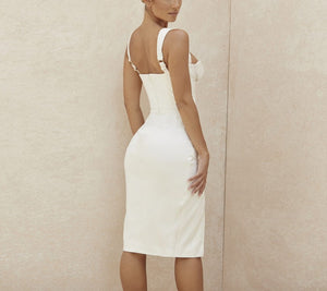 Elegant Bodycon Satin Ruched Slit Dress - LEPITON