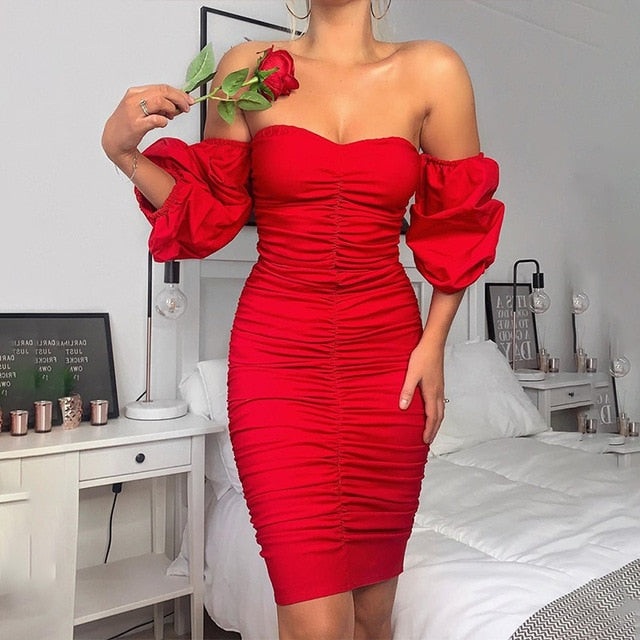 Elegant Off Shoulder Lantern Sleeve Mini Dress - LEPITON