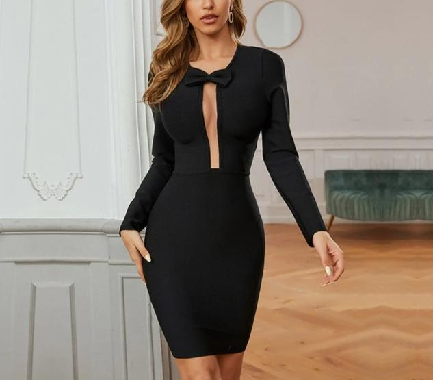 Hollow-Out Bow Mini Bandage Dress - LEPITON