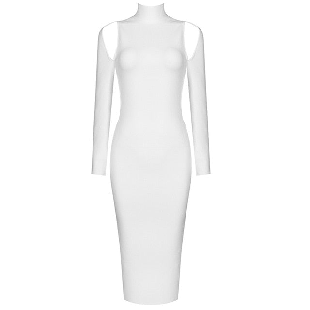 Long Sleeve Halter High-Neck Hollow Bodycon Dress - LEPITON
