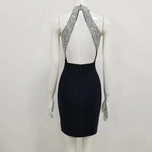 Backless Sparkly Bandage Dress - LEPITON