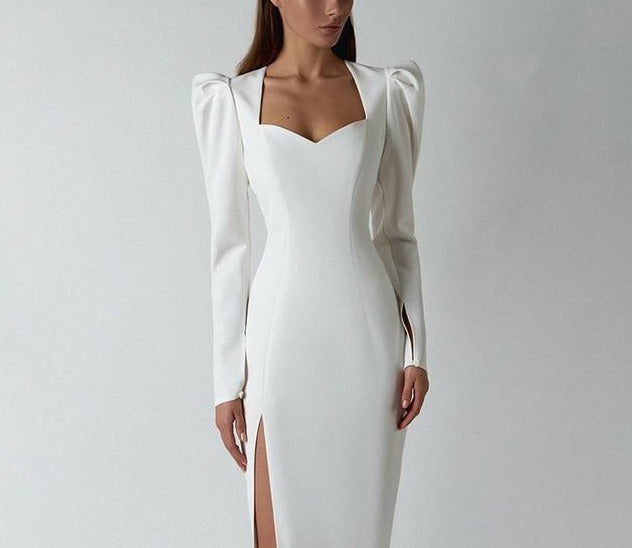 Elegant Bodycon Split Long Dress - LEPITON