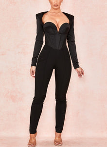 V-Neck Corset Hollow Open Back Jumpsuit - LEPITON