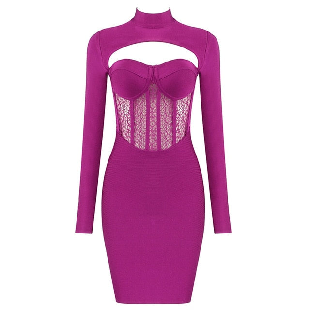 Lace Stitching Hollow Bandage Dress - LEPITON