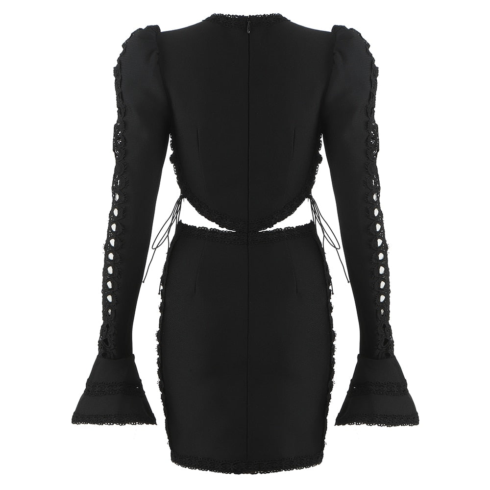 Long Sleeve Bandage Cut-Out Dress - LEPITON