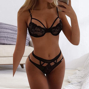 Lace Hollow Perspective Lingerie Bra Panty Set - LEPITON