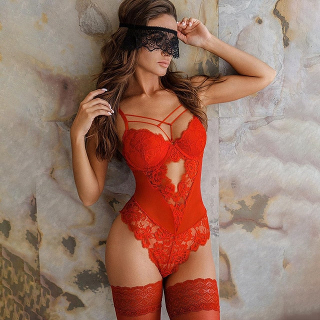 Hollow-Out Spaghetti Strap Lace Trim Cut-Out Bandage Teddy With Mask - LEPITON