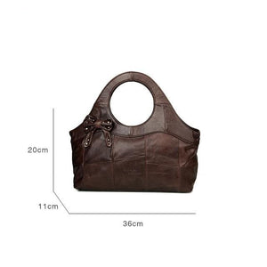 Vintage Real Cowhide Leather Handbag - LEPITON