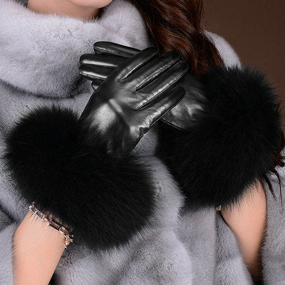 Genuine Leather Fox Fur Gloves - LEPITON