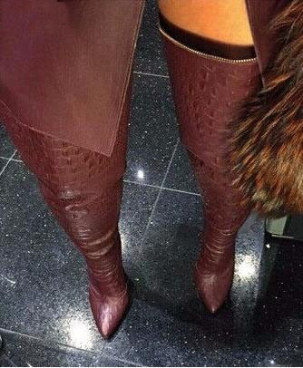 Alligator Over-The-Knee High Boots