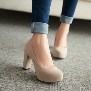 Shallow Thick High Heels with Round Toe