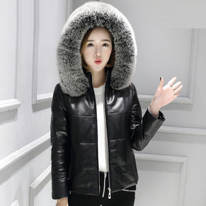 Real Fox Fur Collar Hooded Sheepskin Leather Down Coat - LEPITON