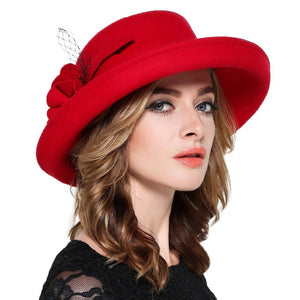 Large Wide Brim Wool Felt Fedora Hat