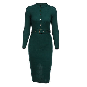 Elegant Full Sleeve Knee-length Knitted Dress - LEPITON