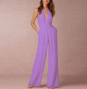 Halter-Neck Backless Pockets Jumpsuit - LEPITON