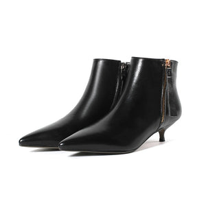 Leather Low Heels Ankle Boots - LEPITON