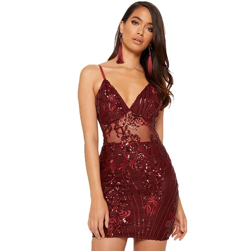 Mesh Sequin V-Neck Bandage Bodycon Dress - LEPITON